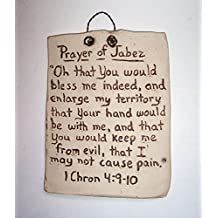 """""""ABC Products"""" - Hand Etched on Flat Stone - Biblical Quote - Chronicles 4:9-10 - """"Prayer Of Jabez"""" - (Rustic Sun Bleached Stone Finish - Hangs With A Rusty Twisted Wire)"""