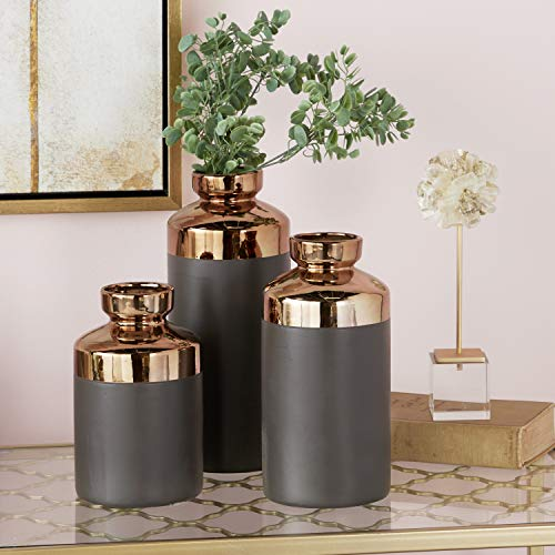 Contemporary Copper Vase - CosmoLiving by Cosmopolitan 98780 Tall Cylinder Metallic Copper & Gray Decorative Vases | Set of 3: 5
