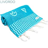 Livordo Turkish Beach Towel Soft, Absorbent 100% Cotton Made in Turkey Quick Dry Lightweight Bath Sheet, Sarong, Pareo, Wrap, Pestemal, Scarf, Spa, Yoga, Gym, Hiking, Camping (Izmirror - Turquoise)