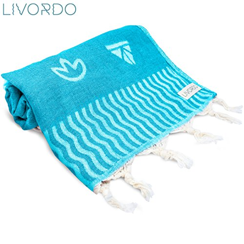 Livordo Turkish Beach Towel Soft, Absorbent 100% Cotton Made in Turkey Quick Dry Lightweight Bath Sheet, Sarong, Pareo, Wrap, Pestemal, Scarf, Spa, Yoga, Gym, Hiking, Camping (Izmirror - Turquoise) by Livordo