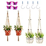 EMAZON Plant Hanger Set of 4,Macrame Handmade Natural Rope Plant Hanger Holder for Indoor Outdoor Plants Basket Hanging with 4 Legs