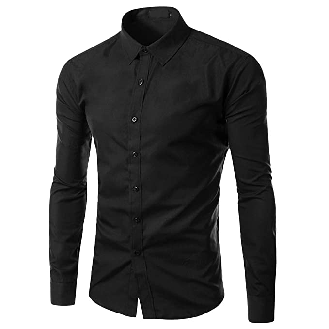 c9272e87c65 Allthemen Mens Dress Shirts Long Sleeve Slim Fit Formal Business Shirt  Casual Button Down Shirts for Men Cotton Solid Color Shirt  Amazon.co.uk   Clothing