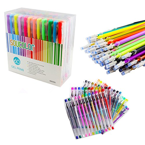 Soucolor 120 Coloring Gel Pens Set, 60 Colored Pens Plus 60 Ink Refills, Perfect for Adult Coloring Books, Scrapbooking, Drawing, Doodle, Craft and Kids Projects