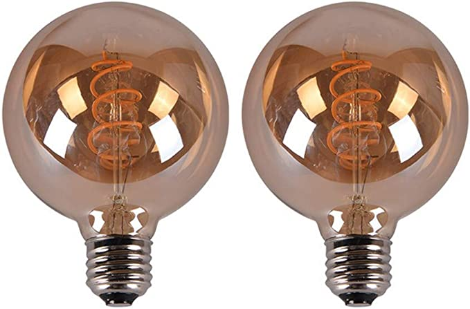 Jklcom G95 Vintage Edison Led Bulb G30 G95 6w Not Dimmable Vintage Led Spiral Filament Globe Light Bulb E26 E27 Base Ac85v 265v 6w 40 Watts Equivalent Warm White 2300k Pack Of 2