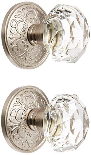 Lancaster Rosette With Diamond Knobs Double Dummy In Satin Nickel. Old Door Knobs.