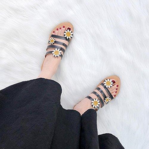 Noir Florales Ouvertes Anti Rome Mode Sandales Talon Chaussures Tournesol Femme D'orteil Chaussures Plat Dérapage Occasionnel Été Pantoufles Bohemia JIANGfu Bx8CUq7wzn