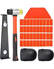 45Pcs Laminate Wood Flooring Installation Tool Kit, Flooring Tools with Solid Tapping Block, Long and Wider Pull Bar, Reinforced Double-Faced Mallet and 40 Spacers