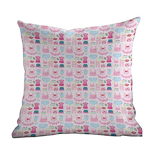 Bed Pillowcase Baby,Little Children Garments Cute Skirt Shoes Tutu Adorable Clothes Pattern,Pale Pink Baby Blue Pink,Standard Square Cushion Cover for Sofa Bedroom Men Women - Cubs Mens Pattern Chicago