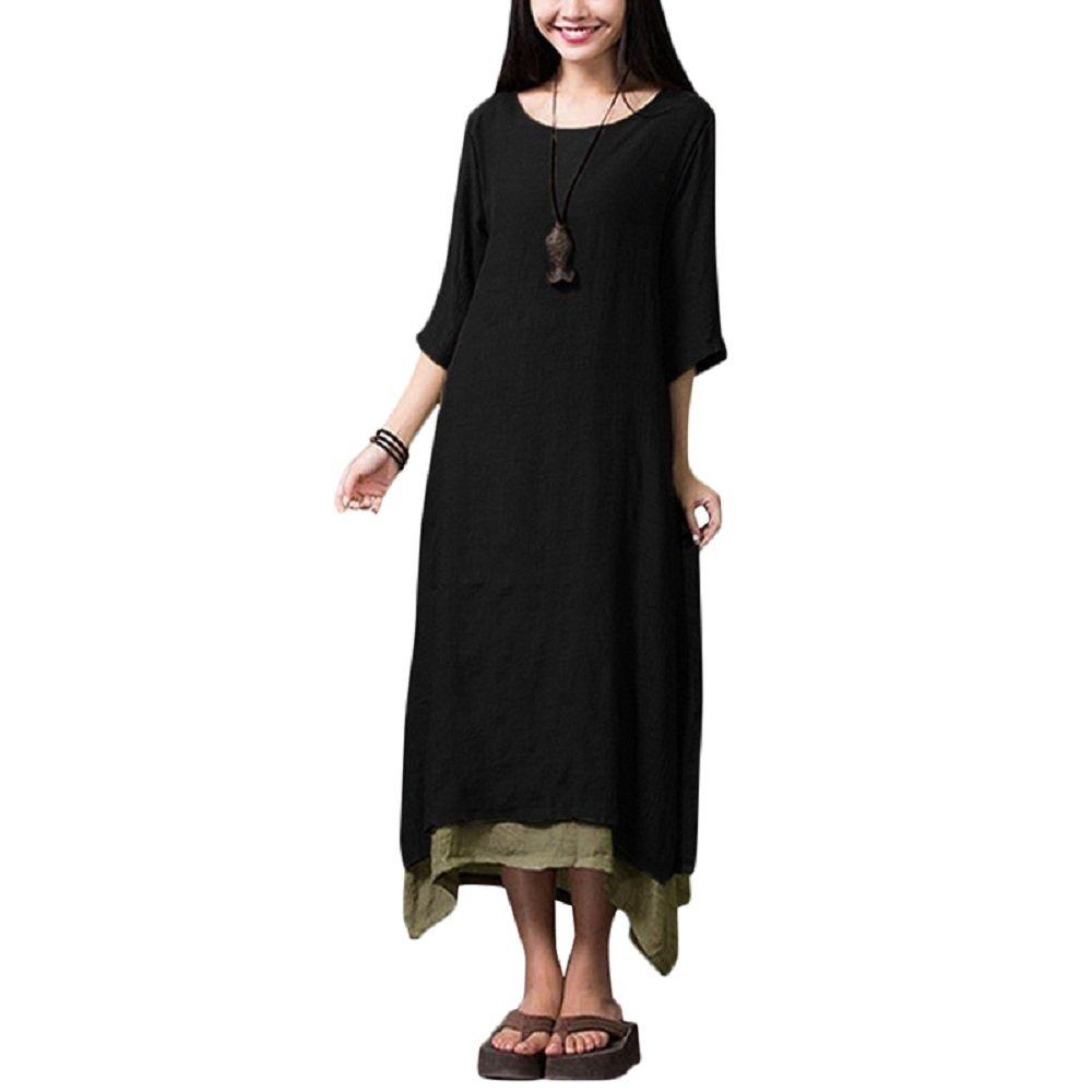 Romacci Women Casual Maxi Dress Vintage Chinese Style Loose Boho Long Dress (2XL, Black)