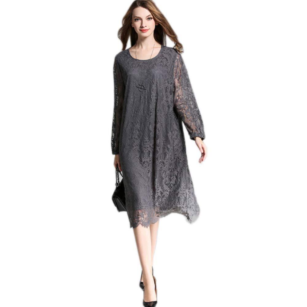 B QJKai Women's Lace Dress,Spring Round Neck Elegant Lace Floral Long Sleeves Solid Dress ,Fashion Plus Size Party Cocktail Midi Dress