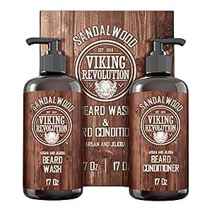 Viking Revolution Beard Wash & Beard Conditioner Set w/Argan & Jojoba Oils – Softens & Strengthens – Natural Sandalwood…