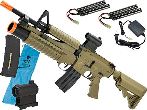 Evike Go Airsoft Starter Package Avengers BAMF M4 LiPo Ready Airsoft AEG Rifle (Model: Tan / M4 with M203 Launcher) ()