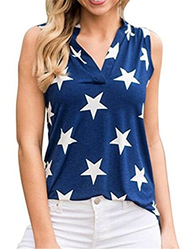 DUTUT Women's Summer Sleeveless Star Printed T Shirt Tank Tops Graphic Tees