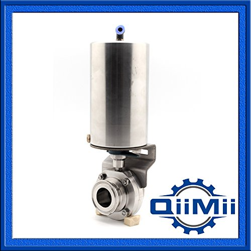2 Inch Clamp Stainless Butterfly Valve With Pneumatic Actuator SS304 by QM Stainless