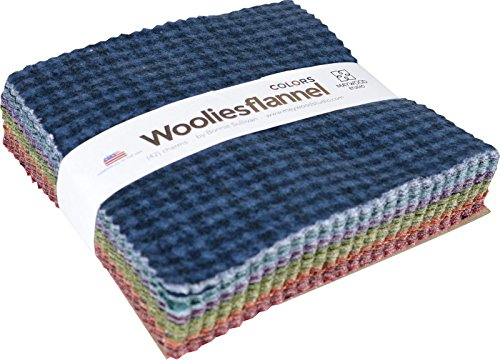 Bonnie Sullivan Woolies Flannel Colors Charm Pack 42 5-inch Squares Maywood - Sewing Flannel Fabric