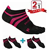 HIGH FIT Pro Lightweight Toe Socks No Show Design, Perfect for Running, for Men & Women (2 Pairs) (Gray & Pink, L)