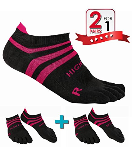 HIGH FIT Pro Lightweight Toe Socks No Show Design, Perfect for Running, for Men & Women (2 Pairs) (Gray & Pink, M)