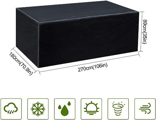 Gurkkst Funda Protectora para Muebles de jardín Funda Muebles Exterior Impermeable Anti-UV Protección Cubierta de Muebles de Mesas Oxford Negro (270 x 180 x 89cm): Amazon.es: Jardín
