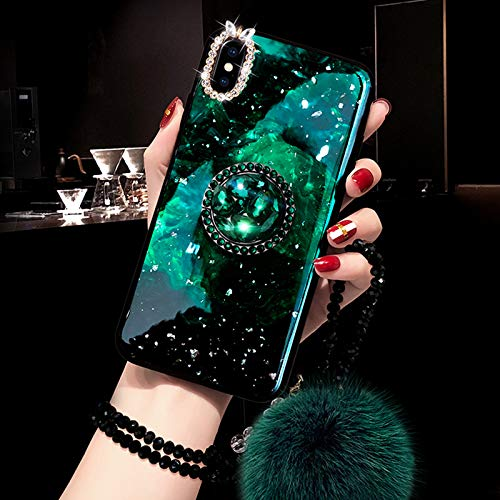 Apple Ball Iphone - Bling Diamond Mirror Gold Foil Marble Case Cover with Real Fox Fur Ball Pendant Pearl Lanyard for iPhone (Green, iPhone Xs Max)