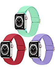 Dsytom 3 Pack Elastic Band Compatible with Apple Watch Bands 38mm 40mm 42mm 44mm, Adjustable Stretchy Nylon Solo Loop Soft bands Replacement Wristband for iWatch Series 6/5/4/3/2/1 SE Strap for Women