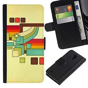 // PHONE CASE GIFT // Moda Estuche Funda de Cuero Billetera Tarjeta de crédito dinero bolsa Cubierta de proteccion Caso Samsung Galaxy S4 IV I9500 / Retro Cubes /