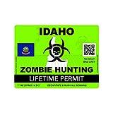 fagraphix Zombie Idaho State Hunting Permit Sticker Self Adhesive Vinyl Decal ID - 4.00 Wide