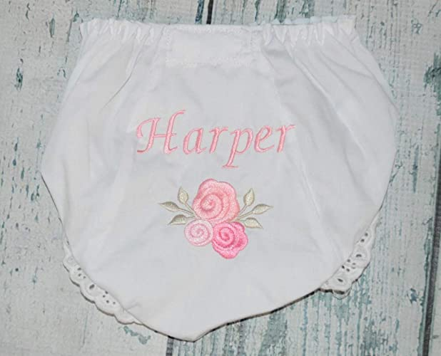 732eb2523 Amazon.com  Personalized Pink Roses Baby Bloomers