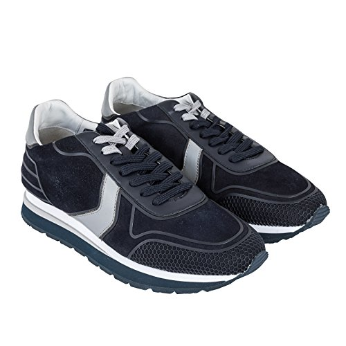 Harmont & Blaine Sneaker Stringata, Uomo, Modello Running in camoscio, Scarpa con Lacci Bicolore, Tomaia in Tessuto, Suola in Eva Tricolore, battistrada in Gomma e Grip, MOD. E1005 P/E18 (Navy Blue).