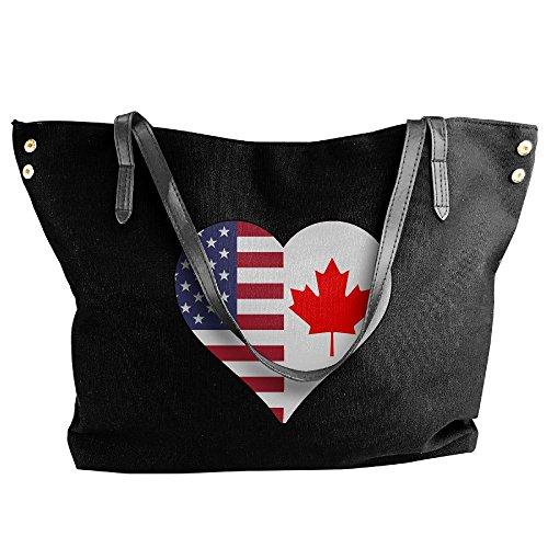 (SW98Q98 Half Canada Flag Half USA Flag Love Heart Women's Casual Shoulder Bag Canvas Bag for Shopping Big Shopping Bag)