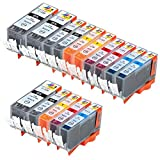 Ink & Toner Geek ® 15 Pack Compatible Replacement Inkjet Cartridges for Canon PGI-220 Black & CLI-221 Black Cyan Magenta Yellow For Use With Canon PIXMA IP3600 PIXMA IP4600 PIXMA IP4700 PIXMA MP540 PIXMA MP560 PIXMA MP620 PIXMA MP620B MP640
