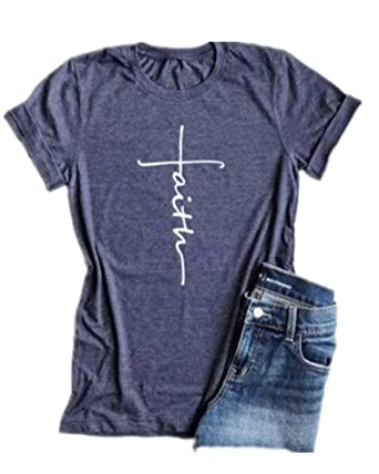 a721c2fba Casual Faith Printed Christian Graphic Tees for Women Shirts T Shirt Ladies  Short Sleeve T-Shirt Loose Comfort Tops at Amazon Women's Clothing store:
