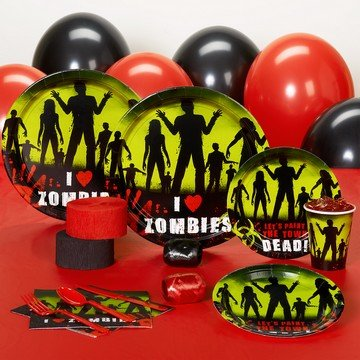 beware zombies halloween standard pack for 18 party supplies - Zombie Party Supplies
