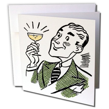 3dRose TNMPastPerfect Party - Retro Toast With Champagne - 12 Greeting Cards with envelopes (gc_253160_2) (Toast Sparkling)
