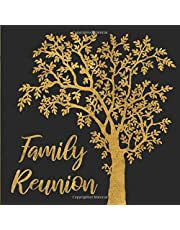 Family Reunion: Black and Gold Tree Guest Book - Elegant Golden Keepsake Sign In Memory Guestbook for Family Gathering, Vacation or Get Together with ... for Email, Name and Address - Square Size