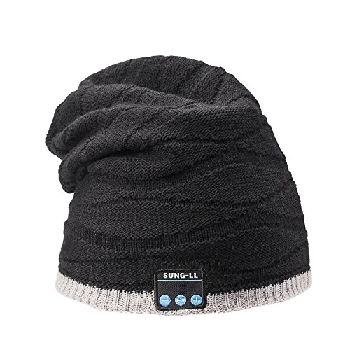 Sung-ll Soft and Warm Hat Wireless Beanie with Smart Cap Speaker Micro Headphone (Grey Black 2)