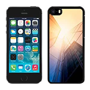 Fashionable Custom Designed iPhone 5C Phone Case With Tall Glass Offices Sunlight_Black Phone Case