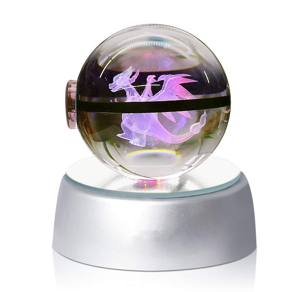 EFGS 3D Crystal Ball LED Veilleuses Plusieurs Couleurs Changent Automatiquement Le Cadeau De Noël des Enfants d'anniversaire. (Chao Ji Long) [Classe énergétique A]