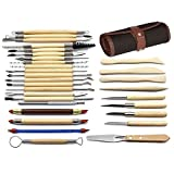niceEshop(TM) 30pcs Clay Sculpting Tools Pottery Carving Tool Set Wooden Handle Modeling Clay Tools with Pouch Bag