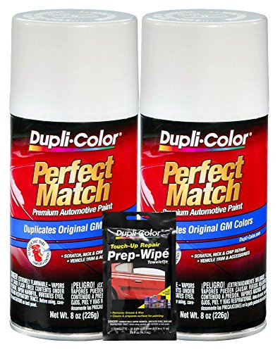 (Dupli-Color Olympic White Exact-Match Automotive Paint for GM Vehicles - 8 oz, Bundles with Prep Wipe (3 Items))
