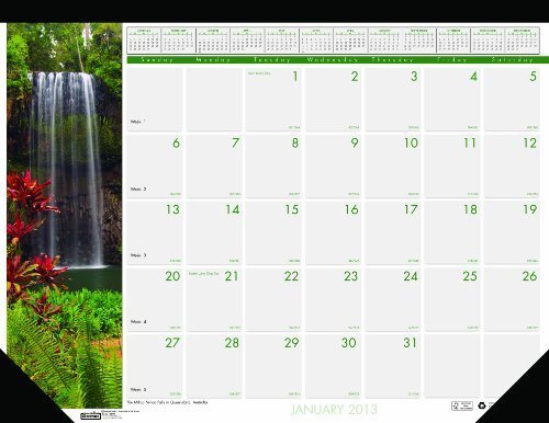 House of Doolittle Earthscapes Waterfalls of the World Desk Pad Recycled Calendar 12 Months January 2013 to December 2013 22 x 17 Inches (HOD171) by House of Doolittle ()