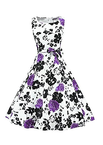 purple Dress Women's Swing Vintage Neck with 36 1950s Sleeveless Inspired Rockabilly Boat LUOUSE Dress wI1OdqO