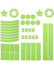 Amindz 42 Stuks Reflecterende Sticker,Zeer Reflecterende Veiligheidsstickers,Zelfklevende Waarschuwingstape-stickers,Waterdichte Reflecterende Tape-stickers voor Auto,Fiets,Kinderwagen