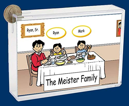 Personalized NTT Cartoon Side Slide Frame Gift: Family Dinner Single Dad 2 Boys Gift, Family Gift, Single dad