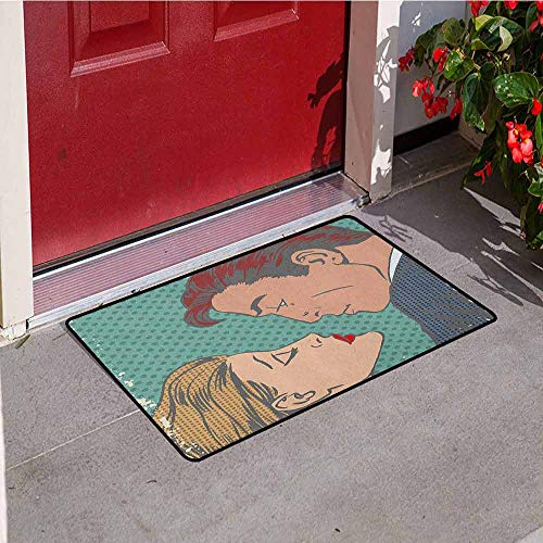GloriaJohnson Kiss Welcome Door mat Man and Woman About to Kiss Pop Art Comics Retro Style Halftone Grunge Door mat is odorless and Durable W29.5 x L39.4 Inch Blue Grey Turquoise Cream ()