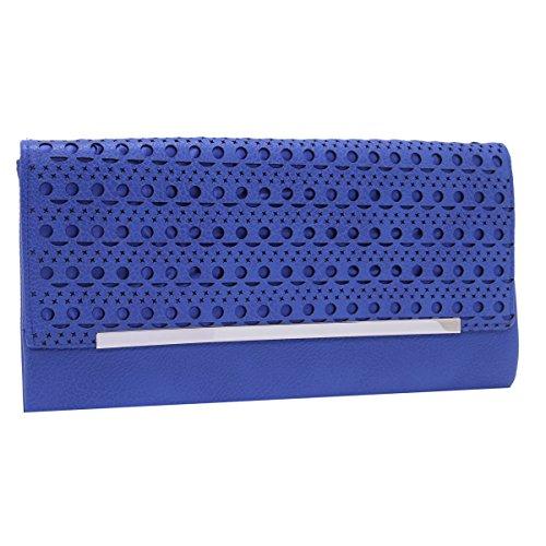 Damara Para Mujer De Embrague Bolso de mano maletín de piel suave oficina bolsa de noche Azul
