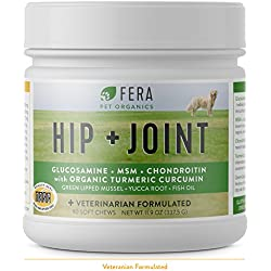 FERA Advanced Max-Strength Vet Formulated Glucosamine Chondroitin for Dogs - All Natural Hip and Joint Supplement with MSM, Omega-3, Hyaluronic Acid, Organic Turmeric - Made in the USA - 90 Soft Chews