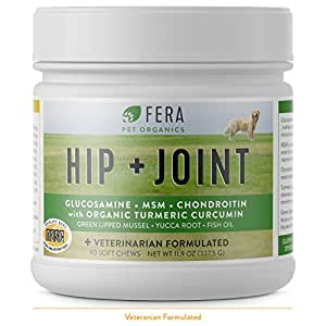 FERA Advanced Max-Strength Vet Formulated Glucosamine Chondroitin for Dogs - All Natural Hip and Joint Supplement with MSM, Omega-3, Vitamin C, Hyaluronic Acid, Organic Turmeric (90 soft chews)