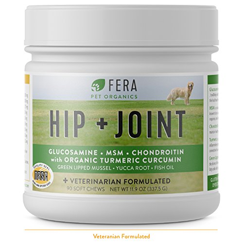 Plus Vet 90 Tabs (FERA Advanced Max-Strength Vet Formulated Glucosamine Chondroitin for Dogs - All Natural Hip and Joint Supplement with MSM, Omega-3, Hyaluronic Acid, Organic Turmeric - Made in the USA - 90 Soft Chews)