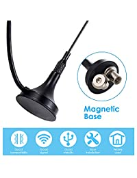 1090Mhz Antenna MCX Plug Connector 2.5dbi Gains ADS-B Aerial with Magnetic Base RG174 1m Extension Cable with MCX Female to SMA Male Adapter Connector