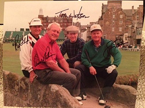 ARNOLD PALMER+JACK NICKLAUS+TOM WATSON+FLOYD SIGNED OVERSIZED 11x14 PHOTO - JSA Certified - Autographed Golf Photos - Arnold Palmer Signed Photo
